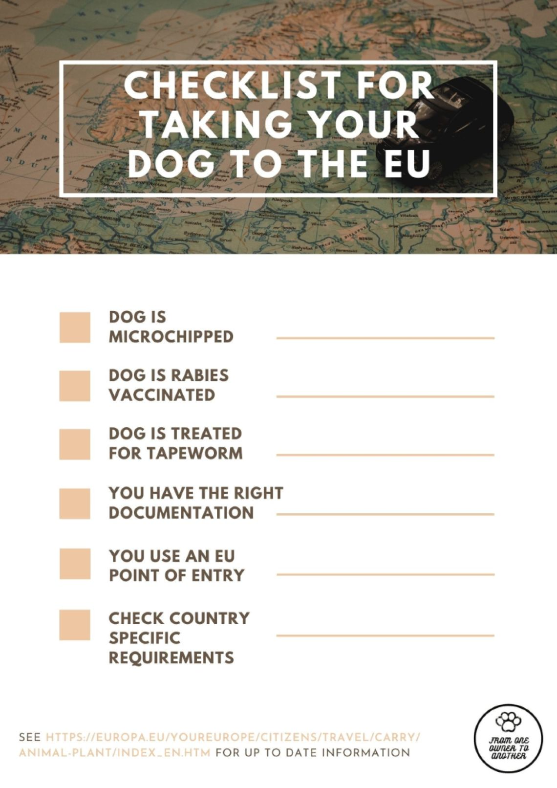 Checklist for taking your dog to the EU