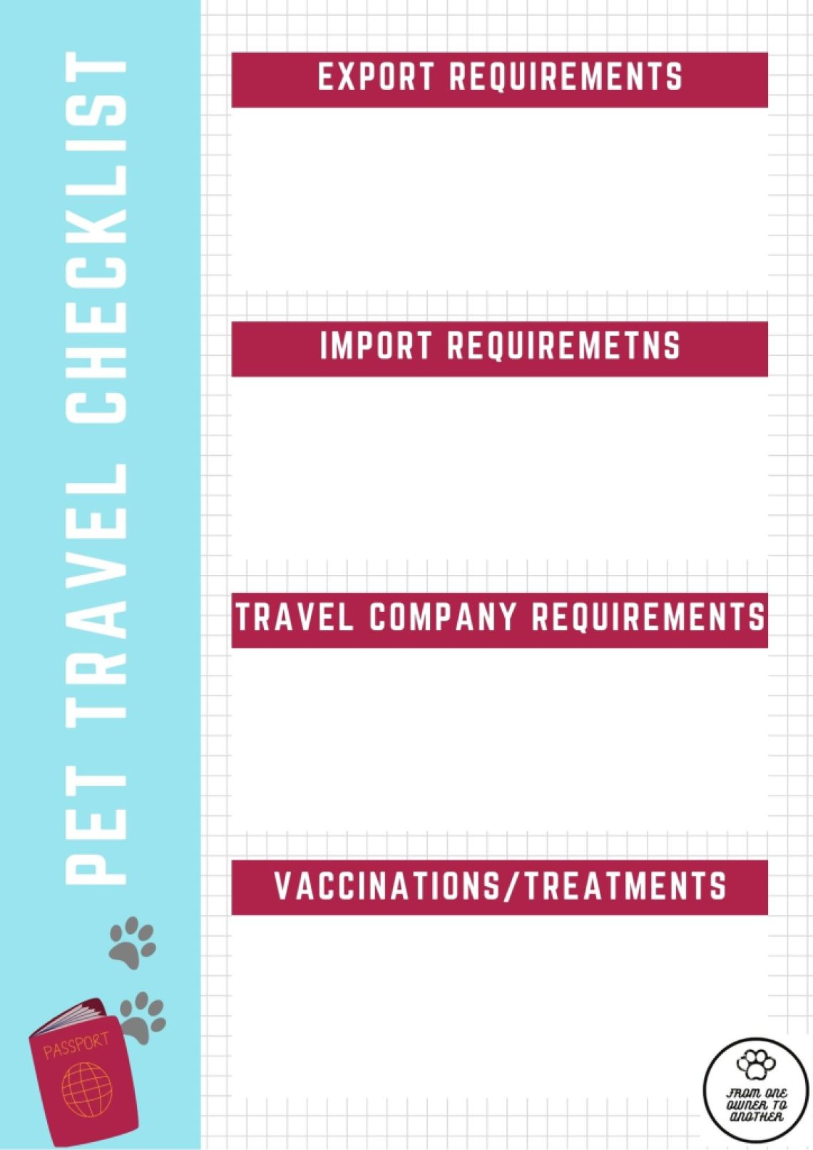 General pet travel checklist - add requirements related to your trip