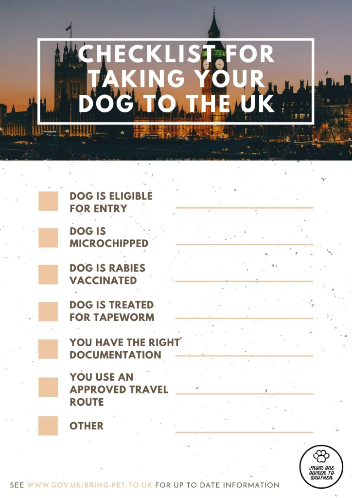 Checklist for taking your dog to the UK